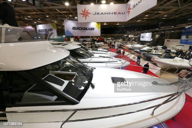 A picture taken on December 9 2018 shows motorboats of the French yacht manufacturer Jeanneau on display during the Paris International Boat Show at...