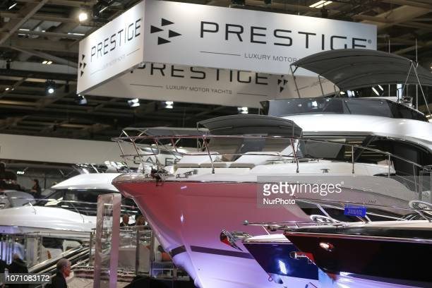 A picture taken on December 9 2018 shows motorboats of the yacht manufacturer Prestige on display during the Paris International Boat Show at the...