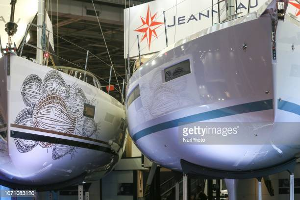A picture taken on December 9 2018 shows sailing boat of the French yacht manufacturer Jeanneau on display during the Paris International Boat Show...