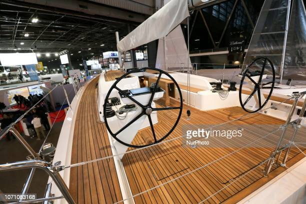 A picture taken on December 9 2018 shows sailing boat of the yacht manufacturer XYachts on display during the Paris International Boat Show at the...