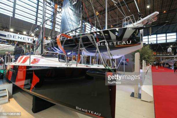 A picture taken on December 9 2018 shows sailing boats of the French yacht manufacturer Beneteau on display during the Paris International Boat Show...