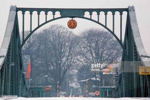 Picture taken on February 07 1986 of the Glienicke bridge or Brücke der Einheit which was used by the Soviet Union and the United States to exchange...
