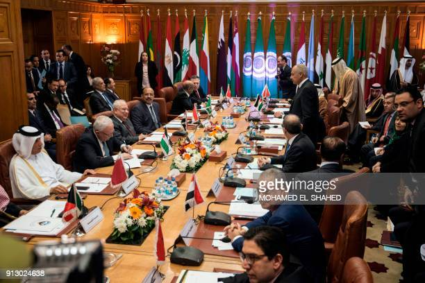 A picture taken on February 1 2018 shows Arab Foreign Ministers meeting at the Arab League headquarters in the Egyptian capital Cairo during an...
