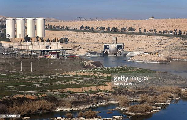 A picture taken on February 1 shows the Mosul Dam on the Tigris River around 50 kilometres north of the Iraqi city of Mosul The United States is...