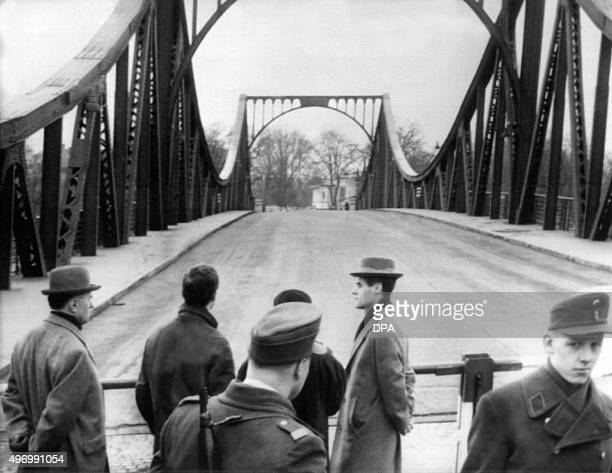 Picture taken on February 10 1962 shows the Glienicke bridge in Berlin after US pilot Gary Francis Powers was swapped for Soviet spy Rudolf Abel The...