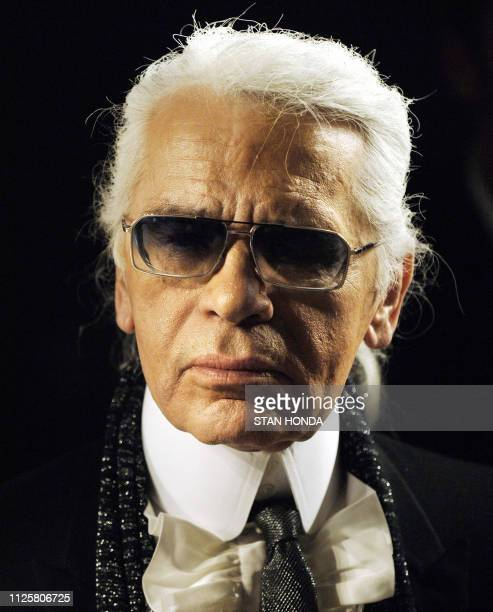 FILES Picture taken on February 10 2006 shows German designer Karl Lagerfeld watching a rehearsal just before his Fall 2006 Fashion show in New York...