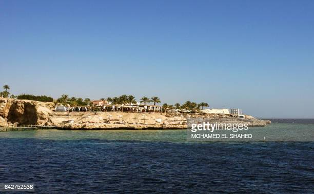 A picture taken on February 10 shows a beach in the Egyptian Red Sea resort of Sharm elSheikh Tourists are slowly returning to Egypt easing pressure...