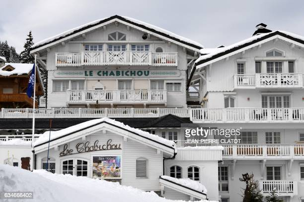 A picture taken on February 10 shows the fourstar hotel 'Le Chabichou' that houses the twostar restaurant run by French chef Michel Rochedy in the...