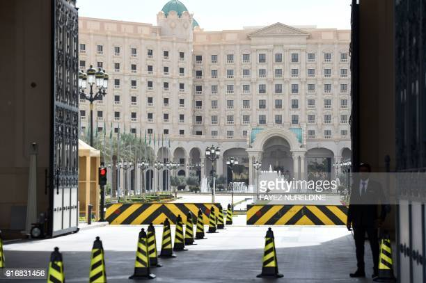 A picture taken on February 11 2018 shows the main entrance of the Ritz Carlton hotel in the Saudi capital Riyadh following its reopening for...