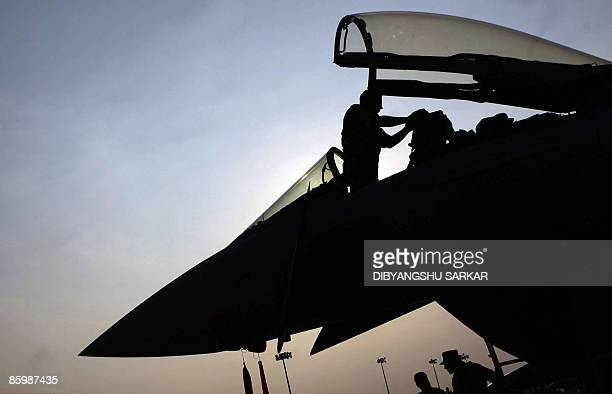 FILES Picture taken on February 12 2009 shows a German Airforce officer working in the cockpit of a Eurofighter Typhoon at the Yelahanka Air Force...