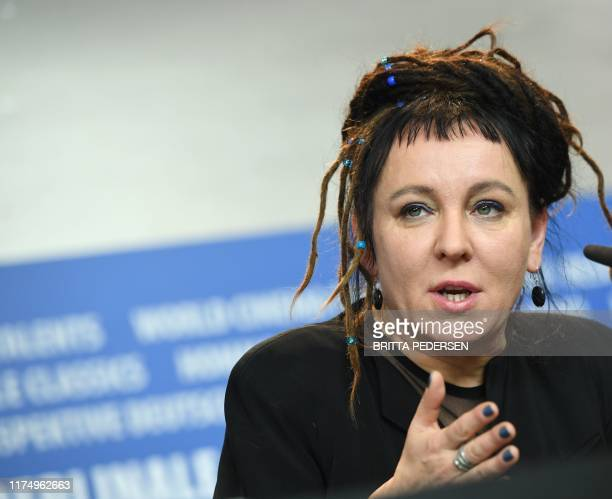 Picture taken on February 12 2017 shows Polish author Olga Tokarczuk during a press conference at the Berlinale film festival in Berlin Germany...