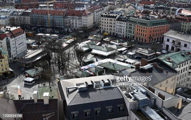 A picture taken on February 13 2020 shows a view of the market Viktualienmarkt in the city of Munich southern Germany