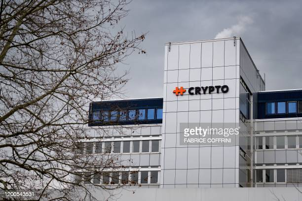 A picture taken on February 13 2020 shows sign of Swiss encryption company Crypto AG at their headquaters in Steinhausen near Zug Outraged...