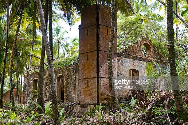 A picture taken on February 13 shows the ruins of the penitentiary known in France as the bagne de Cayenne on Devil's Island in the Caribbean Sea off...