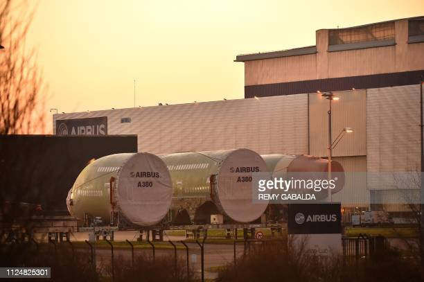 A picture taken on February 14 2019 in Toulouse shows parts of Airbus A380 MSN 266 at Airbus plant as European aerospace giant announced it would end...