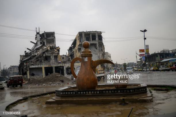 TOPSHOT A picture taken on February 14 2019 shows a general view of Della square in the northern Syrian city of Raqa In 2014 jihadists of the Islamic...
