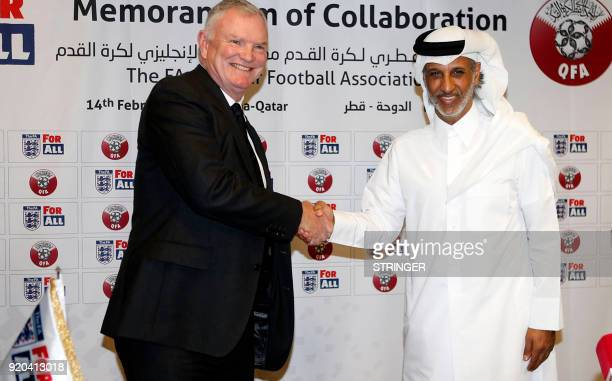 A picture taken on February 14 shows Sheikh Hamad Bin Khalifa Bin Ahmed AlThani President of the Qatar Football Association posing for a picture with...
