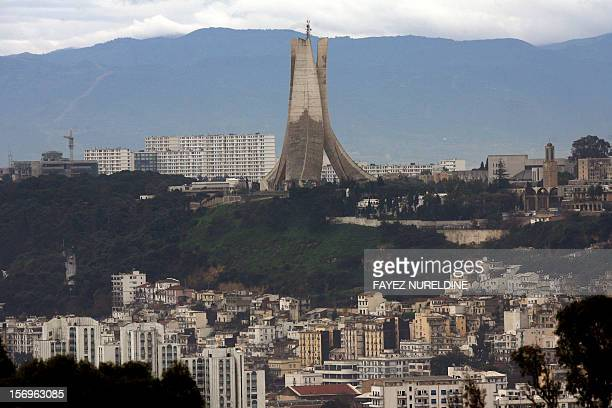 A picture taken on February 15 2008 shows a general view of Algiers and the 'Maqam ElShahid' on the heights of Algiers AFP PHOTO/FAYEZ NURELDINE