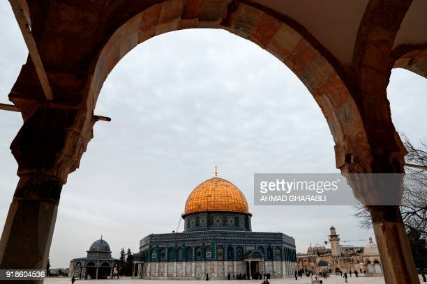 A picture taken on February 15 2018 shows a view of the Dome of the Rock from inside AlAqsa mosque compound in Arab east Jerusalem Oman's foreign...