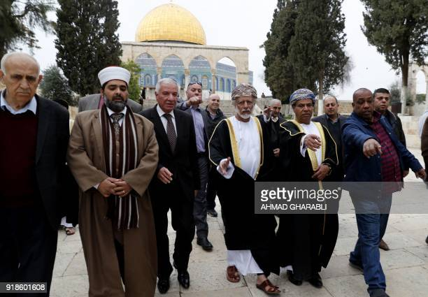 A picture taken on February 15 2018 shows Omani minister responsible for foreign affairs Yusuf bin Alawi during his visit to AlAqsa mosques compound...
