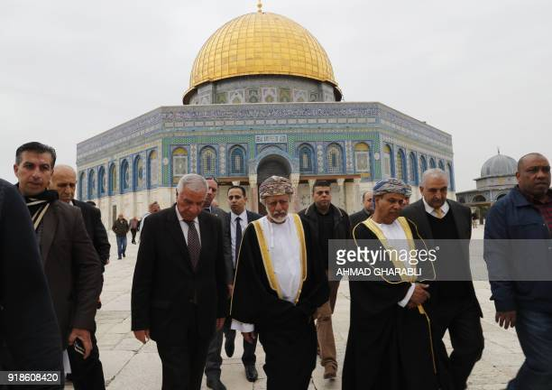 A picture taken on February 15 2018 shows Omani minister responsible for foreign affairs Yusuf bin Alawi visiting AlAqsa mosques compound in Arab...