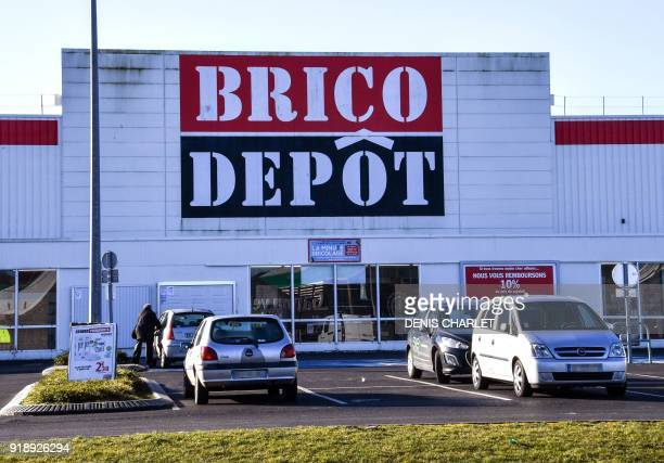A picture taken on February 16 2018 in BruayLaBuissiere northern France shows an outside view of Brico depot store as the owner KingFisher group on...