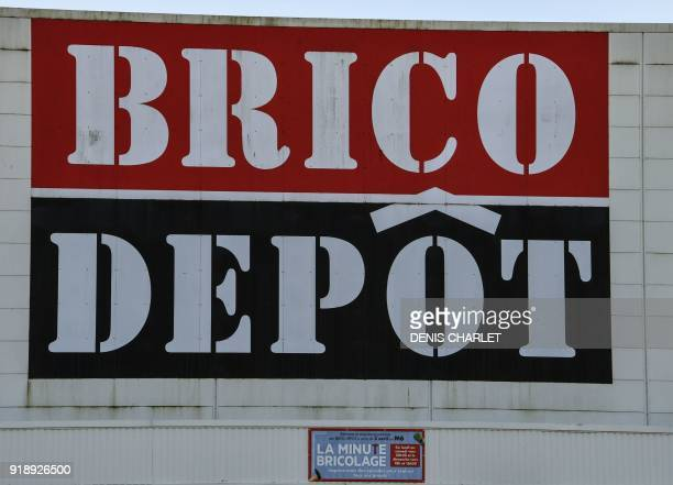 A picture taken on February 16 2018 in BruayLaBuissiere northern France shows the logo on the building of Brico depot store as the owner KingFisher...