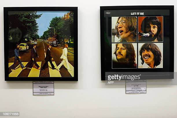 Picture taken on February 18 2011 showing two albums from the Beatles on display at the Beatles museum in Buenos Aires owned by Argentine Rodolfo...