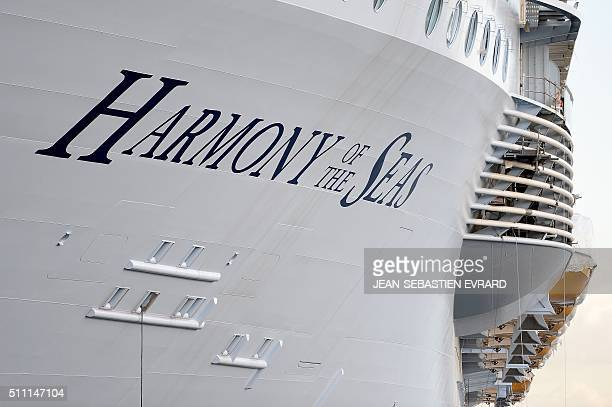 A picture taken on February 18 2016 shows the Harmony of the Seas cruise ship at the STX shipyard of SaintNazaire western France With a capacity of...