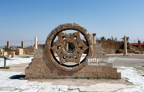Picture taken on February 18 2017 shows a the Sultan Star at the archaeological site of Hisham's Palace on the outskirts of the West Bank city of...