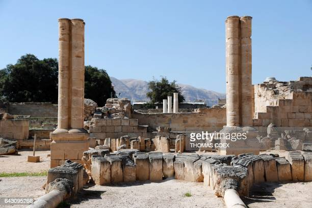 Picture taken on February 18 2017 shows columns and ancient stones at the archaeological site of Hisham's Palace on the outskirts of the West Bank...