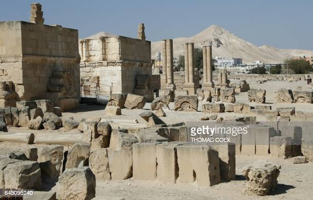 Picture taken on February 18 2017 shows the archaeological site of Hisham's Palace on the outskirts of the West Bank city of Jericho Hisham Palace a...
