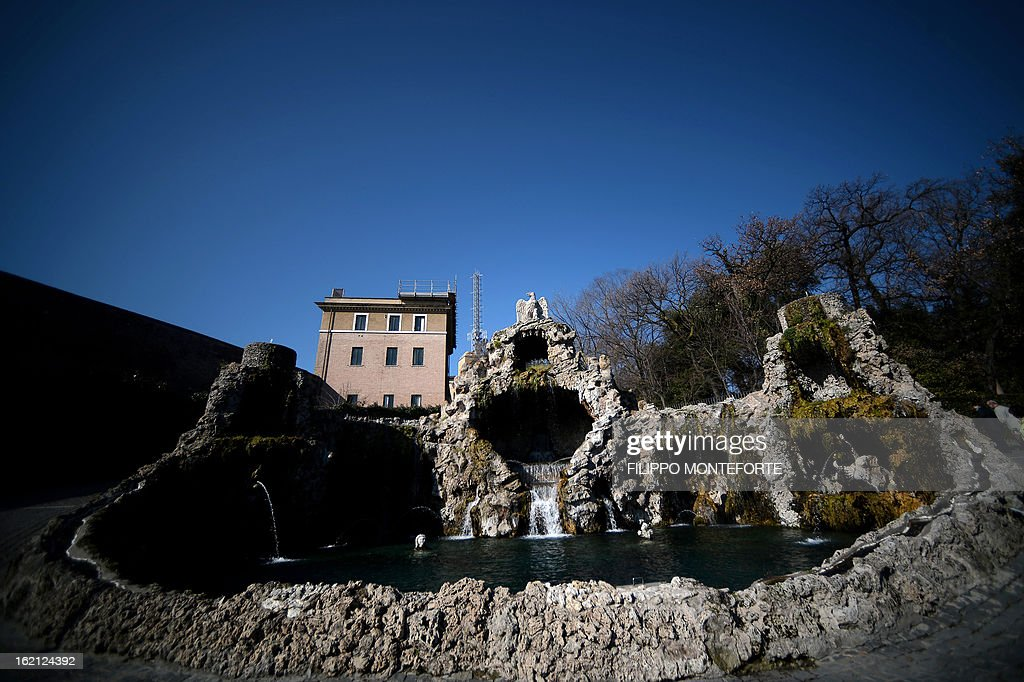 Picture taken on February 19, 2013 shows the Fontana dell'Aquilone in the gardens inside the Vatican City State. Pope Benedict XVI will be hosted in the convent of Mater Ecclesiae (Mother of the Church) offering him a substantial four-story modern home complete with contemporary chapel, garden and a roof terrace looking out from a rise dominated by the Holy See's TV transmission tower. Pope Benedict XVI began a week-long spiritual retreat out of the public eye on Monday ahead of his resignation on February 28 with the field of candidates to succeed him still wide open. AFP PHOTO/ Filippo MONTEFORTE