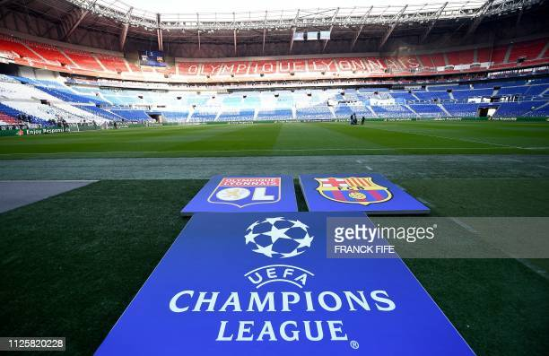 A picture taken on February 19 2019 shows a general view of the Parc Olympique Lyonnais stadium in DecinesCharpieu ahead of the European Champions...