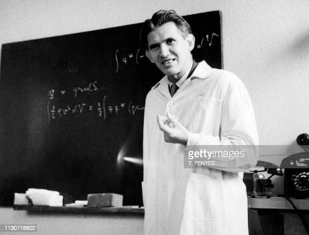 Picture taken on February 1962 at Budapest University showing Hungarian physicist, and Ordinarius for nuclear physics Lajos Janossy. - Lajos Jánossy...