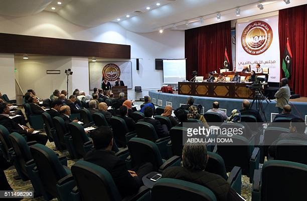 A picture taken on February 20 2016 shows a general view of a meeting of Libyan prime ministerdesignate Fayez alSarraj to present a programme of his...