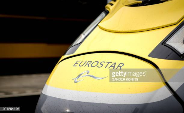 A picture taken on February 20 2018 shows a Eurostar train arriving at Amsterdam Central Station in Amsterdam after the train departed from London...