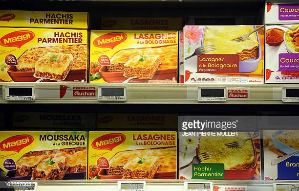 A picture taken on February 21 2013 at a supermarket in Bordeaux shows frozen lasagnas A Europewide food fraud scandal over horsemeat sold as beef...