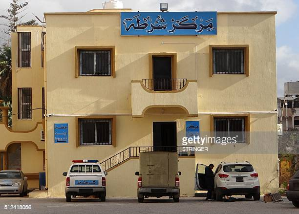 A picture taken on February 21 2016 shows the recently reopened police station in the eastern coastal Libyan city of Derna Seven months after driving...