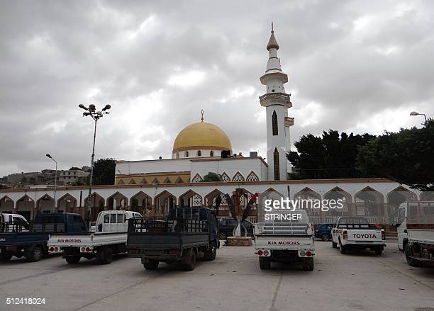 A picture taken on February 21 2016 shows the Sahaba Mosque in the eastern coastal Libyan city of Derna Seven months after driving the Islamic State...