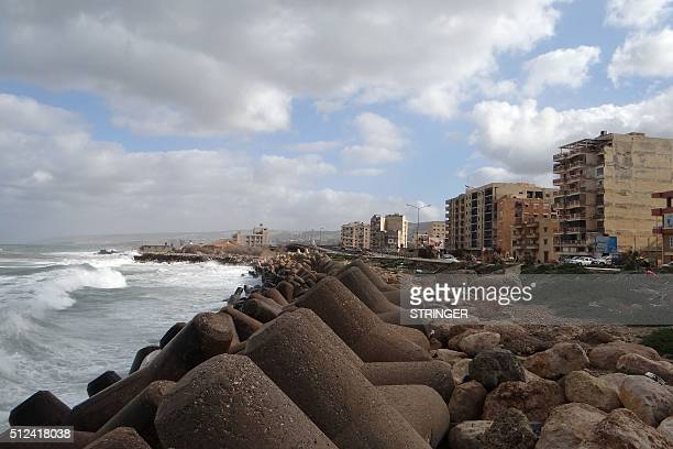 A picture taken on February 21 2016 shows the sea shore of the eastern coastal Libyan city of Derna Seven months after driving the Islamic State...