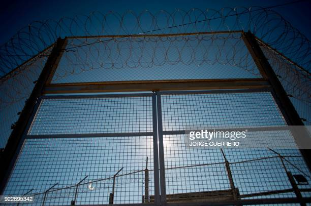 TOPSHOT A picture taken on February 21 2018 shows the border fence between Morocco and the Spanish North African enclave of Ceuta