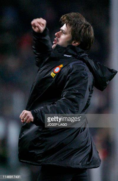 A picture taken on February 22 2009 shows then RCD Espanyol's Argentinian coach Mauricio Pochettino celebrating his team's goal during the Spanish...
