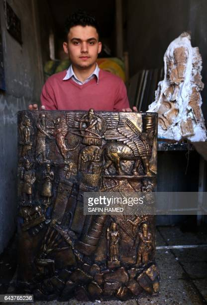A picture taken on February 22 2017 in Arbil the capital of the Kurdish autonomous region in northern Iraq shows Ninos Thabit an 18yearold displaced...