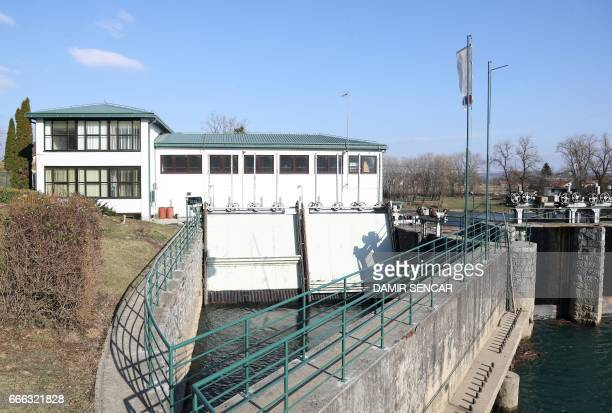 Picture taken on February 22, 2017 shows an hydro plant on the river Kupa in the town of Ozalj near Karlovac, Croatia. Croatia produces up to 75...