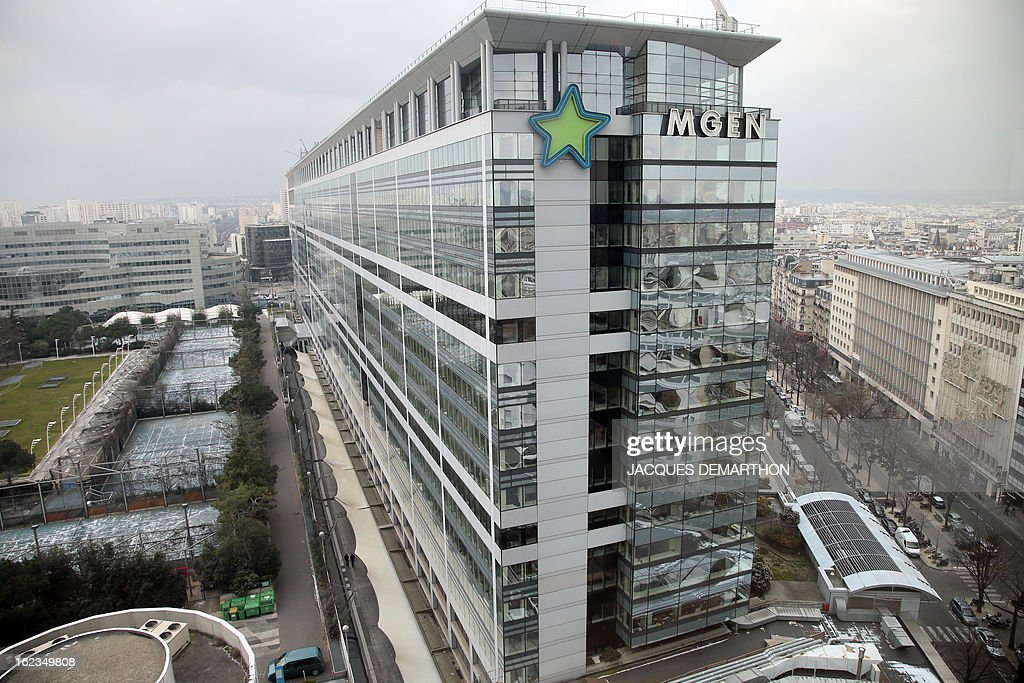 A picture taken on February 22, 2013, shows the MGEM (Mutuelle Generale de l'Education Nationale) headquarters in Paris.