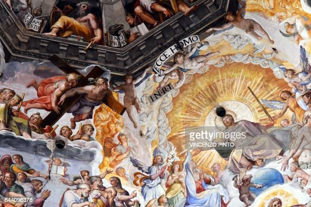 A picture taken on February 23 2017 shows the fresco Last Judgment by Italian artist Giorgio Vasari in the dome built by Italian architect Filippo...