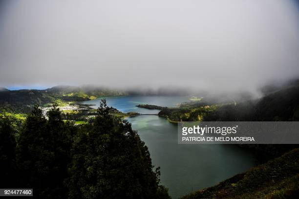 A picture taken on February 23 2018 shows a landscape of Sete Cidades lagoon in Sao Miguel island Azores Portugal / AFP PHOTO / PATRICIA DE MELO...