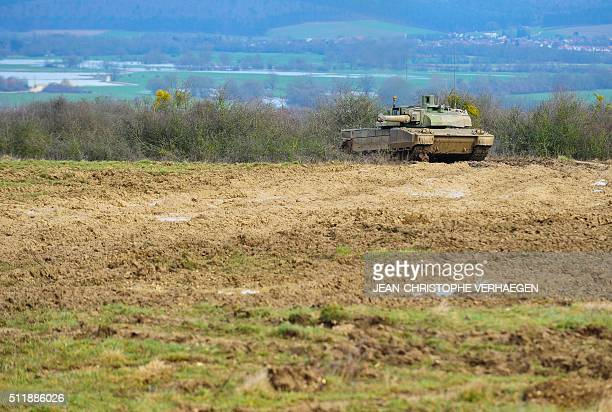 Picture taken on February 23 shows a French-made Leclerc tank during a demonstration at the 1st Hunter Regiment in Thierville-sur-Meuse, eastern...