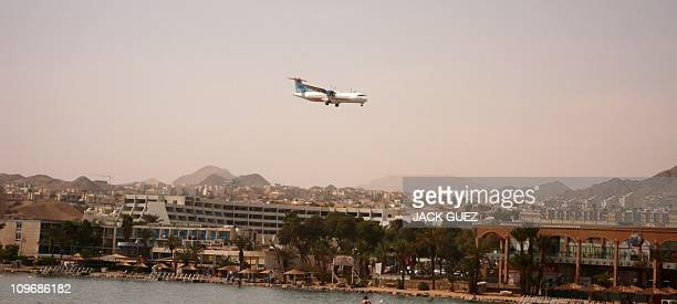 Picture taken on February 24, 2011 shows a Israir company plane preparing to land at the airport in the centre of the Israeli Red Sea resort of...